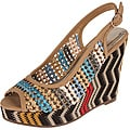 Elegant by Beston Women's 'Jane-1' Camel Woven Slingbacks