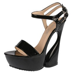 Elegant by Beston Women's 'Mogan-2' Black Strappy Platform Heels
