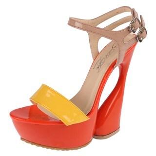 Elegant by Beston Women's 'Mogan-2' Yellow Strappy Platform Sandals