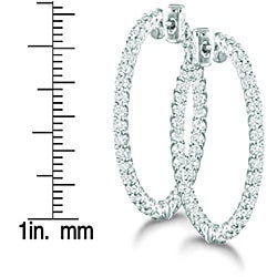 14k White Gold 3 3/4ct TDW Diamond Prong Hoop Earrings (H-I, I1-I2)