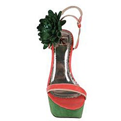 Elegant by Beston Women's 'Tottie-2' Green/ Coral Chunky Sandals
