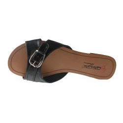 Elegant by Beston Women's 'SANDRI-6' Black Buckle Sandals