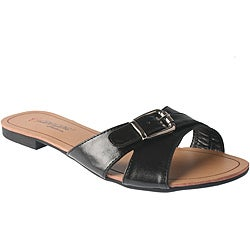 Elegant by Beston Women's 'SANDRI-6' Black Buckle Sandals