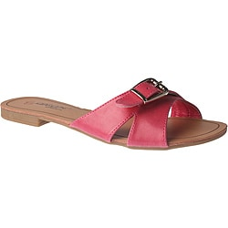 Elegant by Beston Women's 'SANDRI-6' Fuchsia Buckle Sandals