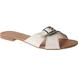 Elegant by Beston Women's 'SANDRI-6' White Buckle Flat Sandals