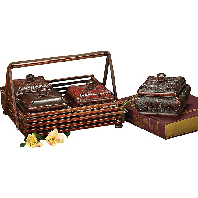 Multicolor Faux Leather Decorative Wood Boxes with Wood Holder (Set of 4)