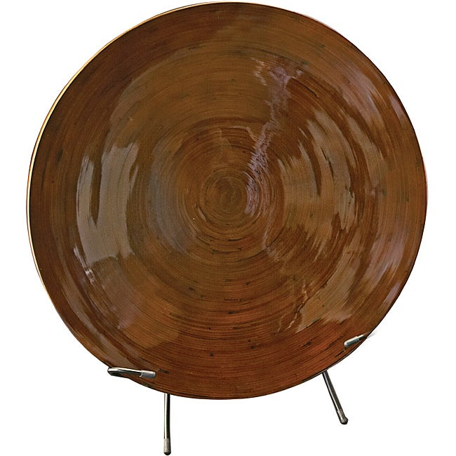 Mocha Brown Lacquer Bamboo Charger with Stand