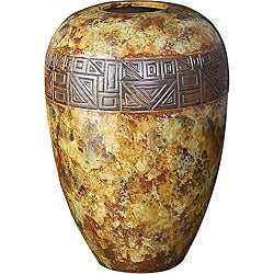Raku with Bronze Embossed Emblem Ceramic Vase
