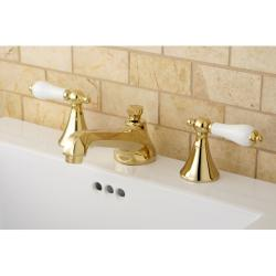 Two-Handle Polished Brass Widespread Bathroom Faucet