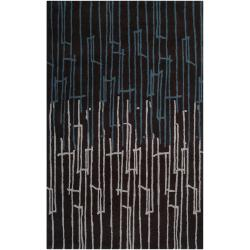 Noah Packard Hand-tufted Black/Blue Contemporary Artvin New Zealand Wool Abstract Rug (3'3 x 5'3)