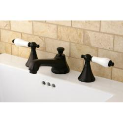 Oil Rubbed Bronze Widespread Bathroom Faucet and Brass Drain