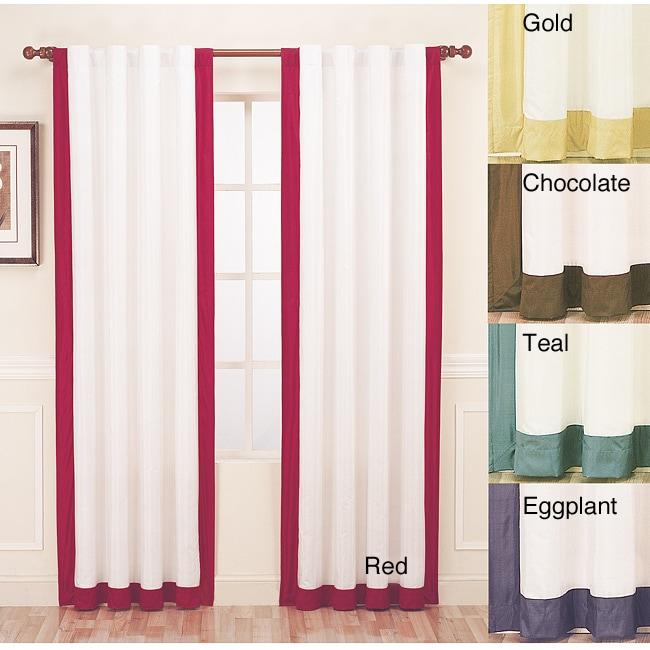 Passage Silk Contrast Banding 84-inch Curtain Panel