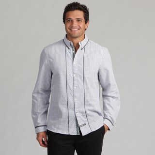 English Laundry Men's Grey Plaid Woven Shirt