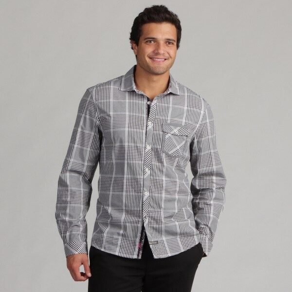 English Laundry Men's Black Plaid Woven Shirt