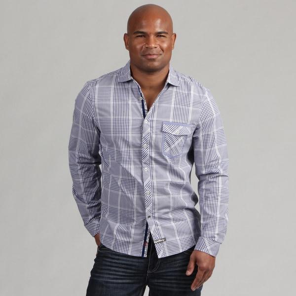 English Laundry Men's Blue Plaid Woven Shirt