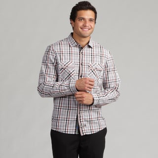 English Laundry Men's Large Plaid Dot Collar Woven Shirt