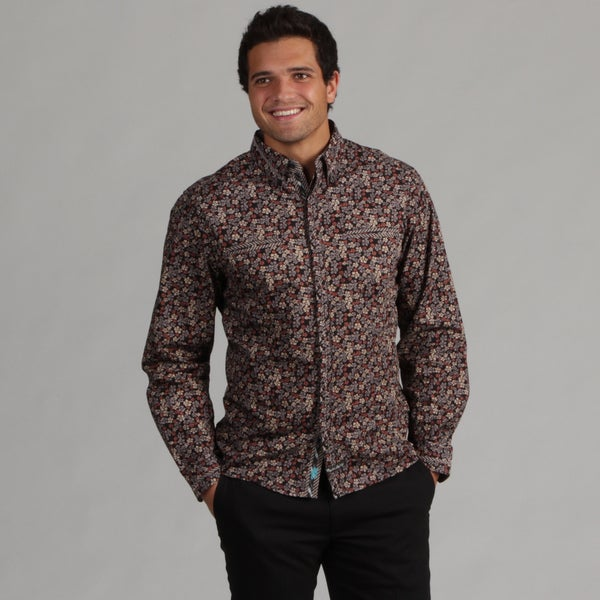English Laundry Men's Floral Pattern Woven Shirt