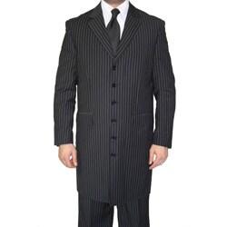 Ferrecci Men's Black Pinstripe Six-button Suit