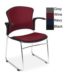 OFM Multi-Use Stack Chair with Fabric Back and Seat with Arms (Pack of 4)