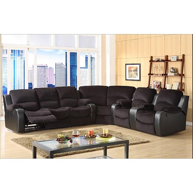 Tyson microfiber reclining 3 piece sectional set for 3 piece microfiber recliner sectional sofa