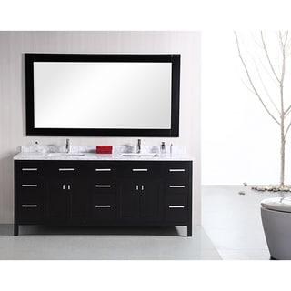 Design Element London 78-inch Modern Espresso Carrera Marble Double Bathroom Vanity Set