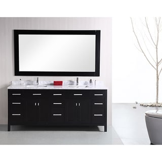 Design Element London 78-inch Modern Espresso Carrera Marble Double Bathroom Vanity Set