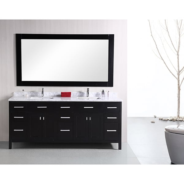 Design Element London 78 Inch Double Sink Espresso Vanity