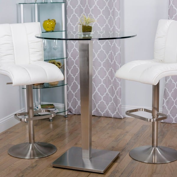 Ella Round Glass Brushed Stainless Steel Pub Table