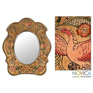 Painted Glass Handcrafted 'Garden of Gold' Mirror (Peru)