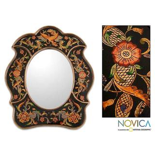Painted Glass Handcrafted 'Birdsong at Night' Mirror (Peru)