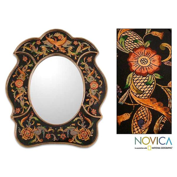 Painted Glass Handcrafted 'Birdsong at Night' Mirror , Handmade in Peru