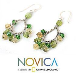 Sterling Silver 'Green Dew' Peridot and Citrine Earrings (Thailand)