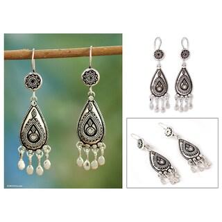 Sterling Silver 'Silver Dancer' Chandelier Earrings (India)