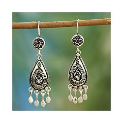 Sterling Silver 'Silver Dancer' Chandelier Earrings (India)