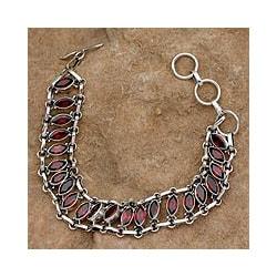 Sterling Silver 'Eyes of Passion' Garnet Wristband Bracelet (India)