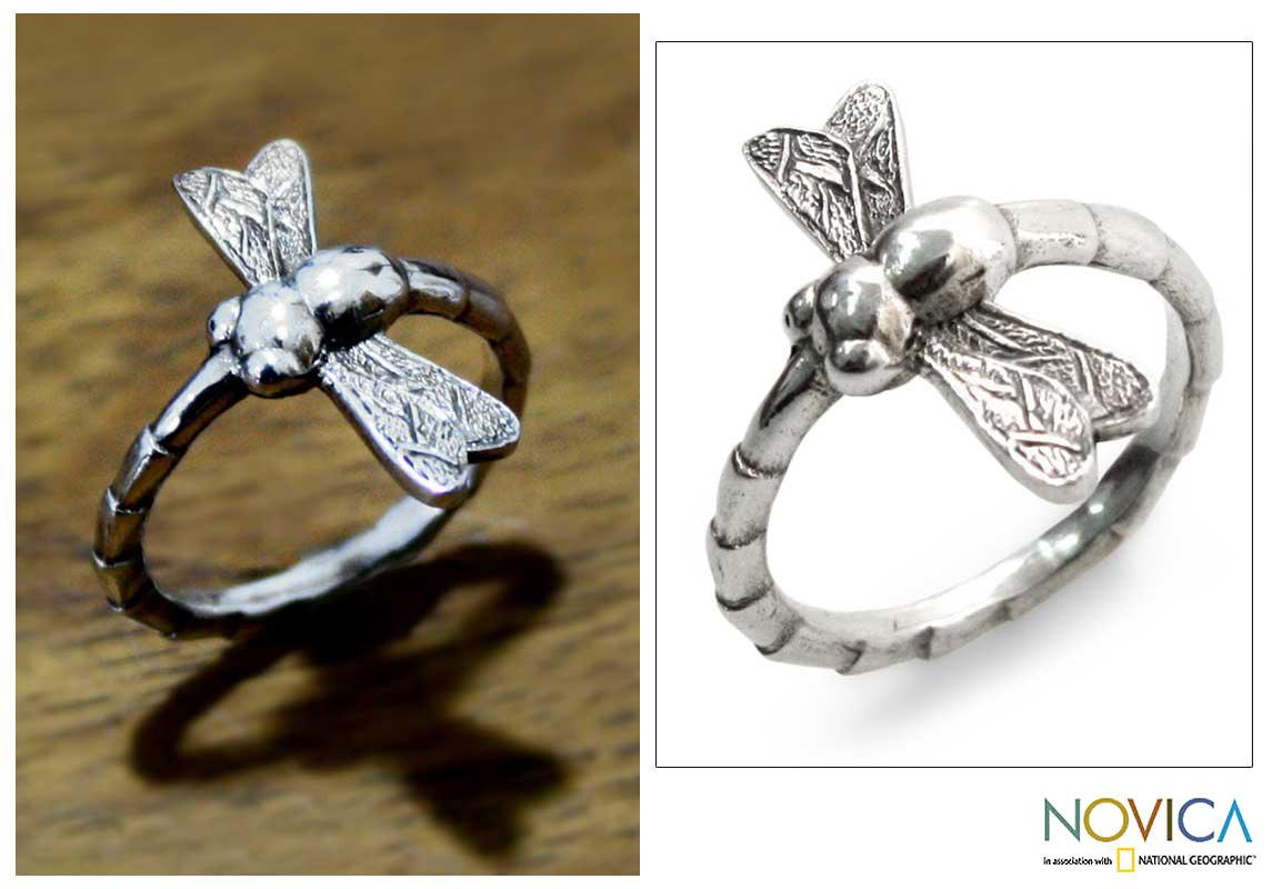 Sterling Silver 'Dragonfly Fortunes' Ring (Indonesia)