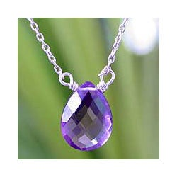 Sterling Silver 'Mystical Petal' Amethyst Necklace (Thailand)