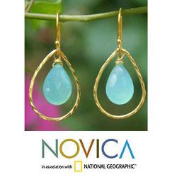 Gold Overlay 'Empress' Chalcedony Earrings (Thailand)