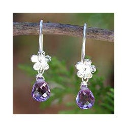 Sterling Silver 'Iris Daisy' Amethyst Earrings (Thailand)