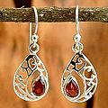 Sterling Silver 'Lace Halo' Garnet Dangle Earrings (India)