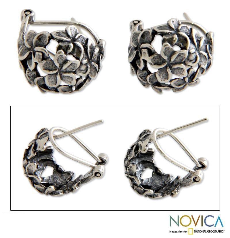 Sterling Silver 'Balinese Geraniums' Earrings (Indonesia)