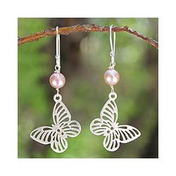 Sterling Silver 'Butterfly Moons' Pearl Earrings (6.5 mm) (Thailand)