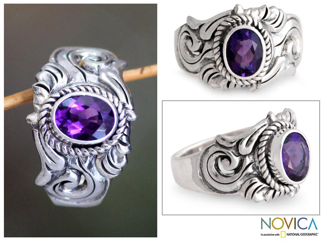 Sterling Silver Men's 'Majesty' Amethyst Ring (Indonesia)