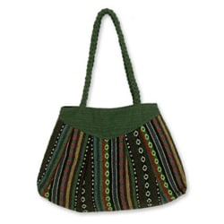 Cotton 'Ethnic Emerald' Shoulder Bag Medium (Thailand)