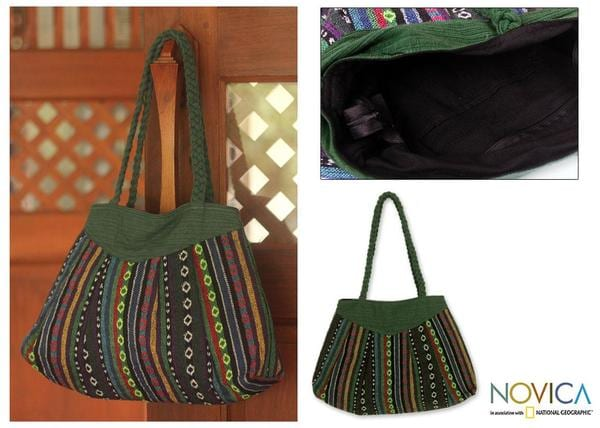 Cotton 'Ethnic Emerald' Shoulder Bag Medium (Thailand)