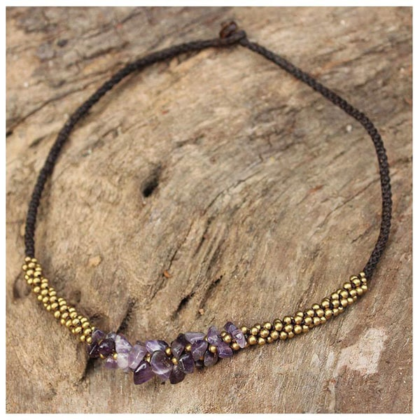 Amethyst handcrafted 'Lilac Orchids' Beaded Necklace (Thailand)