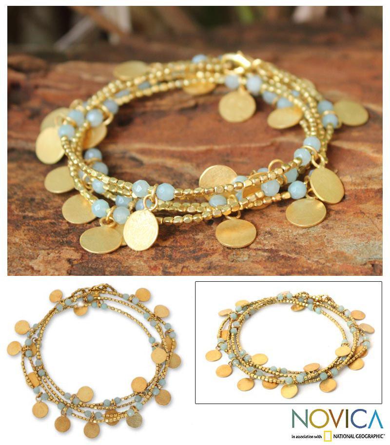 Gold Overlay 'Aqua Suns' Quartz Bracelet (Thailand)