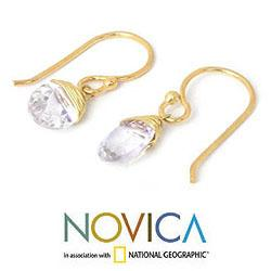 Gold Overlay 'Sublime Elegance' Quartz Earrings (Thailand)