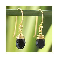 Gold Overlay 'Sublime Elegance' Onyx Earrings (Thailand)