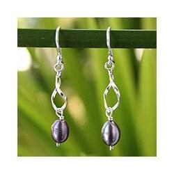 Sterling Silver 'Swirling Love' Pearls Earrings (6-6.5 mm) (Thailand)